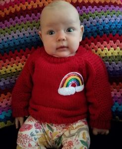 baby rainbow knit jumper
